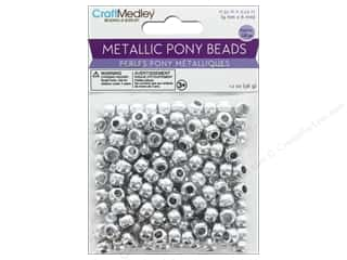 craft & hobbies: Multicraft Bead Pony 9 mm x 6 mm Barrel Metallic Silver