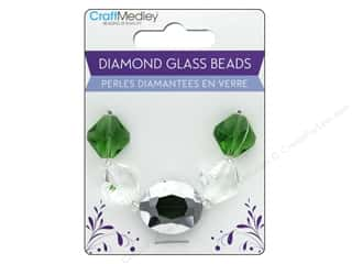 Multicraft Bead Glass Strand Oval/Diamond Emerald