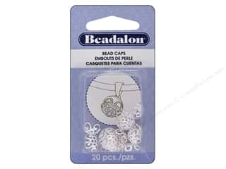 beading & jewelry making supplies: BeadalonBead Cap 10 mm Silver Plate 20 pc