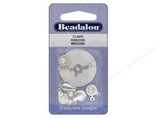 beading & jewelry making supplies: Beadalon Findings Ball Hitch Clasp 17 mm Silver Plated 6 Sets