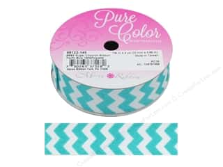 "ribbon: Morex Ribbon Sugar Chevron 7/8""x 4 yd Pacific Blue"