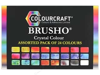 scrapbooking & paper crafts: Colourcraft Brusho Crystal Colour Assorted Pack of 24