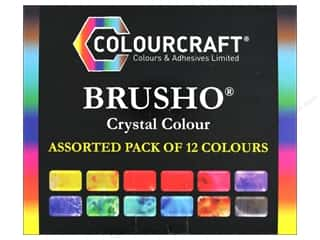 scrapbooking & paper crafts: Colourcraft Brusho Crystal Colours - Assorted Set of 12