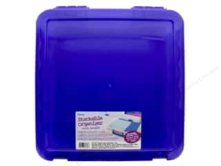 scrapbooking & paper crafts: Darice Organizer Box Stackable With Handle 14 in. x 14 in. Purple