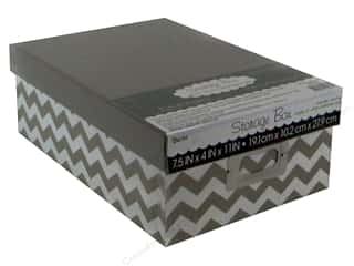 Darice Storage Photo Box 7.5 in. x 4 in. x 11 in. Chevron Grey
