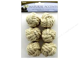 novelties: Darice Floral Rope Wrapped Ball White 6 pc