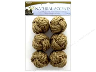 novelties: Darice Floral Rope Wrapped Ball Natural 6 pc