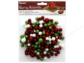 Darice Floral Glitter Foam Beads 1.3 oz Red/Lime/White