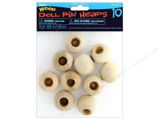 Darice Wood Doll Pin Head .63 in. Natural 10 pc