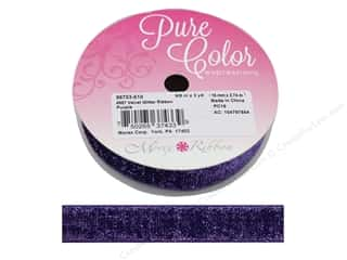 Morex Ribbon Velvet Glitter 5/8 in. x 3 yd Purple