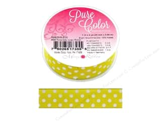 gifts & giftwrap: Morex Ribbon Wire Polka Dots 1 in. x 5 yd Yellow