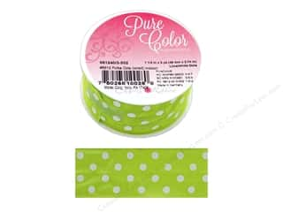 gifts & giftwrap: Morex Ribbon Wire Polka Dots 1.5 in. x 3 yd Lime/White
