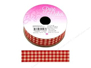 ribbon: Morex Ribbon Wire Harvest Plaid 1 in. x 6 yd Holiday Red