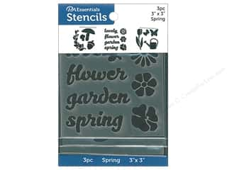 craft & hobbies: PA Essentials Stencil 3 in. x 3 in. Spring 3 pc
