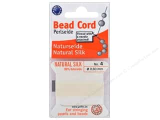 beading & jewelry making supplies: Beadalon Cord 100% Silk Size 4 White 2 M