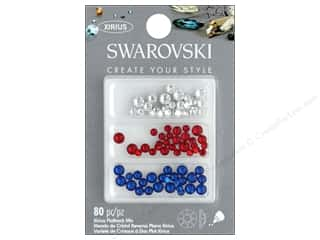 beading & jewelry making supplies: Cousin Swarovski Flatback Mix Patriot B 80pc