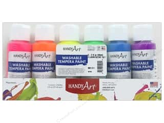 Handy Art Washable Tempra Paint Set 6 pc. Fluorescent
