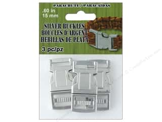 Clearance: Pepperell Parachute Cord Buckle 15 mm Silver 3 pc