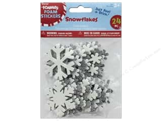 a perfect winter: Darice Foamies Sticker Glitter Snowflake 24 pc
