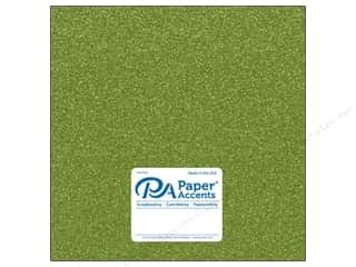 Paper Accents Glitter Cardstock 12 in. x 12 in. 85 lb Olive Green 5 pc