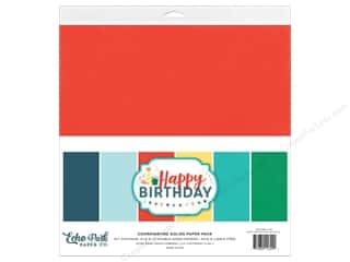 Cardstock: Echo Park Happy Birthday Boy Paper Pack Solid 12 in. x 12 in.