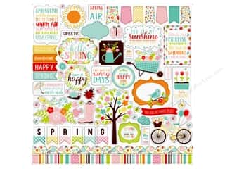 Echo Park Hello Spring Sticker 12 in. x 12 in.  Element (15 pieces)
