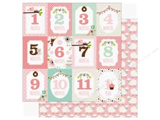 scrapbooking & paper crafts: Echo Park Sweet Baby Girl Paper  12 in. x 12 in. Month Cards (25 pieces)