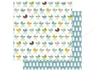 Echo Park Collection Sweet Baby Boy Paper  12 in. x 12 in. Baby Strollers (25 pieces)
