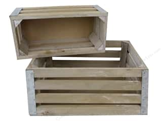 Sierra Pacific Crafts Wood Slat Crate With Tin Corners Set Of 2