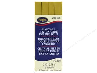 Wrights Extra Wide Double Fold Bias Tape 3 yd. Mustard