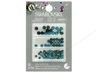 beading & jewelry making supplies: Cousin Swarovski Flatback Mix Emerald Blue Zircon 80 pc
