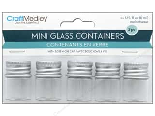 Multicraft Organizer Glass Bottles Mini With Screw Lid .2 oz  5 pc