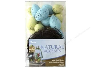decorative floral: Darice Bird Nest with Eggs Speckled 22 pc