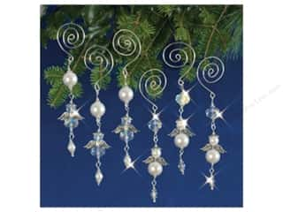 novelties: Solid Oak Kit Beaded Ornament Dangling Angels