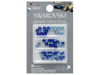 beading & jewelry making supplies: Cousin Swarovski Flatback Mix Aqua Sapphire 80 pc