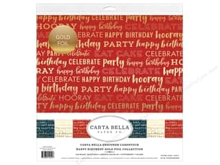 Carta Bella Happy Birthday Collection Kit 12 in. x 12 in. Foil Gold