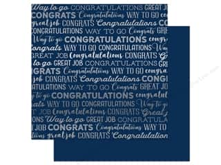 Carta Bella Congrats 12 in. x 12 in. Foil Navy (25 pieces)