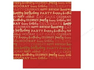 Carta Bella Happy Birthday 12 in. x 12 in. Foil Red (25 pieces)