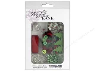 craft & hobbies: Buttons Galore 28 Lilac Lane Embellishment Kit Holly Jolly