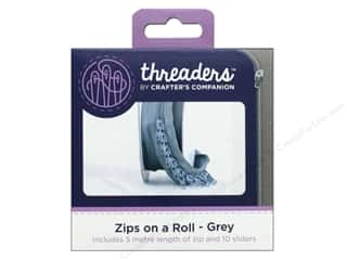 Crafter's Companion Threaders Zips on a Roll Grey