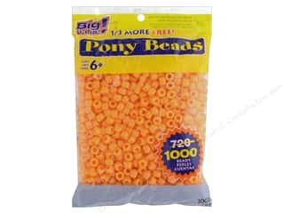 beading & jewelry making supplies: Darice Pony Beads 6 x 9 mm 1000 pc. Opaque Orange