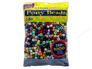 beading & jewelry making supplies: Darice Pony Beads 6 x 9 mm 1000 pc. Opaque Colors
