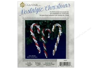 craft & hobbies: Solid Oak Kit Beaded Ornament Crystal Candy Canes