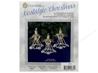 beading & jewelry making supplies: Solid Oak Kit Beaded Ornament Golden Angels