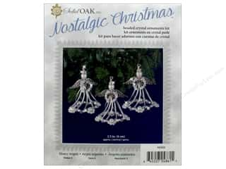 beading & jewelry making supplies: Solid Oak Kit Beaded Ornament Silvery Angels