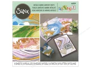 scrapbooking & paper crafts: Sizzix Adhesive Sheets 6 in. x 6 in. Metallic Marble Assorted