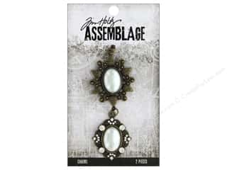 beading & jewelry making supplies: Tim Holtz Assemblage Charms Frame Oval Pearl