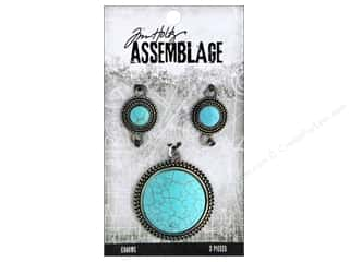 beading & jewelry making supplies: Tim Holtz Assemblage Charms Medallions Turquoise