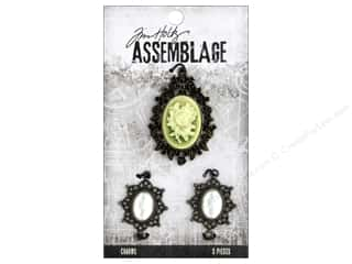 beading & jewelry making supplies: Tim Holtz Assemblage Charms Rosette And Pearls