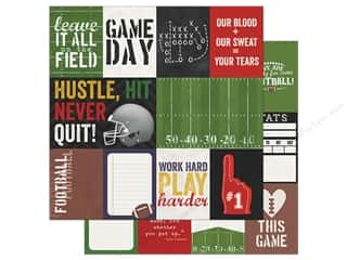 Simple Stories Collection Football Paper 12 in. x 12 in. Journaling Card Elements 3 in. x 4 in. & 4 in. x 6 in.